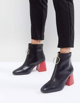 MANGO Contrast Flared Heel Leather Ankle Boot