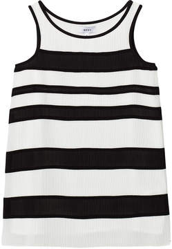 DKNY Black and White Striped Pleated Voile Dress