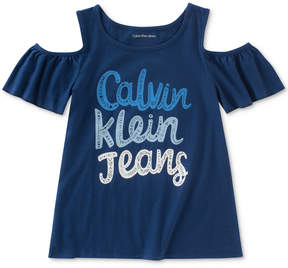 Calvin Klein Jeans Cold-Shoulder Graphic-Print Cotton T-Shirt, Big Girls (7-16)