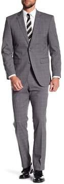 Perry Ellis Grey Plaid Two Button Notch Lapel Slim Fit Suit
