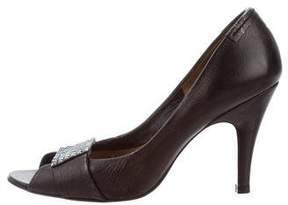 Pedro Garcia Leather Peep-Toe Pumps