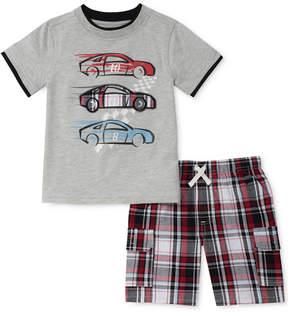 Kids Headquarters 2-Pc. Graphic-Print T-Shirt & Plaid Shorts Set, Little Boys