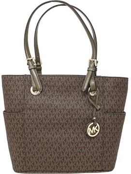 Michael Kors Women's Jet Set East West Signature Bag Leather Top-Handle Tote - Brown / Olive - BROWN / OLIVE - STYLE