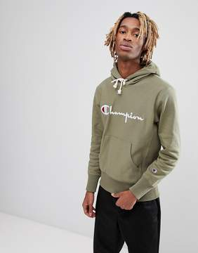Champion Hoodie With Large Logo In Green