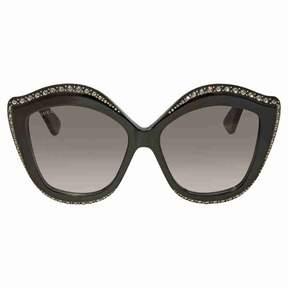 Gucci Swarovski Clear Crystals Trim Grey Cat Eye Ladies Sunglasses GG0118S-001 53