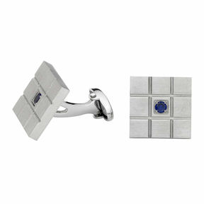 Asstd National Brand Grid Pattern Cuff Links with Blue Crystal Accent