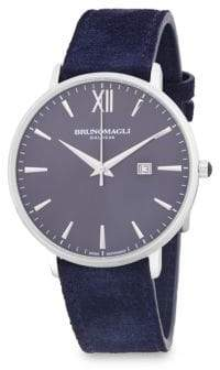 Bruno Magli Stainless Steel Analog Leather-Strap Watch