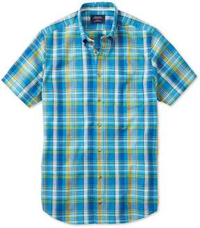 Charles Tyrwhitt Classic Fit Short Sleeve Green and Blue Check Cotton Casual Shirt Single Cuff Size Large