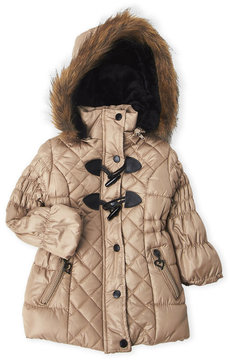 Urban Republic Toddler Girls) Hooded Faux Fur Toggle Puffer Jacket