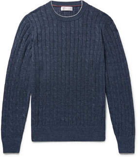 Brunello Cucinelli Slim-Fit Contrast-Tipped Cable-Knit Linen And Cotton-Blend Sweater