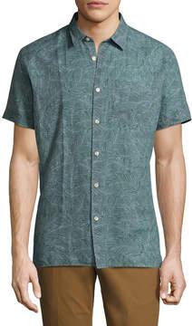 J. Lindeberg Men's Ward Linen Patterned Sportshirt