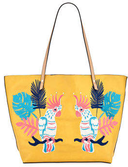 Neiman Marcus Minali Parrot Embroidered Tote Bag