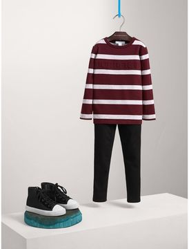 Burberry Long-sleeve Striped Cotton T-shirt