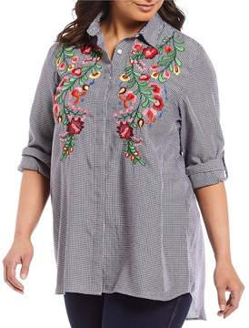 Chelsea & Theodore Plus Roll-Tab Sleeve Plaid Print Floral Embroidered Shirt