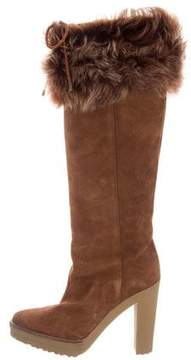 Ralph Lauren Suede Shearling-Trimmed Boots