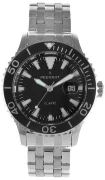 Peugeot Watches Men's Ratchet Sport Bezel Black Dial Watch - Silver