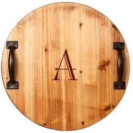 Cathy's Concepts Monogrammed Initial Handled Wooden Tray