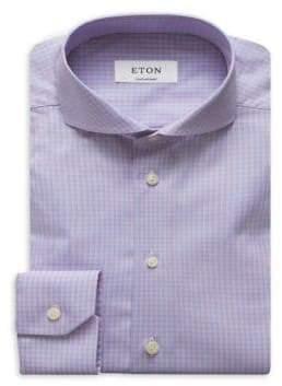 Eton Plaid Print Contemporary-Fit Cotton Dress Shirt
