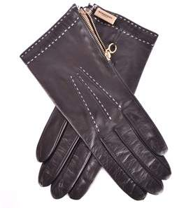 Burberry Women's Black Leather Gloves.