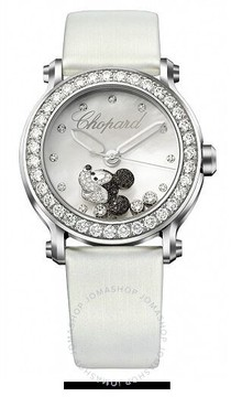 Chopard Happy Sport Diamond Mickey Mouse Silver Dial White Satin Ladies Watch