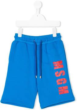MSGM distressed logo print shorts