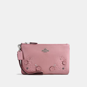 COACH Coach Small Wristlet In Glovetanned Leather With Tea Rose Tooling - LIGHT ANTIQUE NICKEL/DUSTY ROSE - STYLE