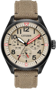 Citizen Men's Eco-Drive Military Khaki Nylon Nato Strap Watch 42mm BU2055-08X