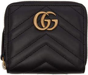 Gucci Black Mini GG Marmont 2.0 Zip Around Wallet - BLACK - STYLE