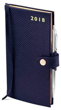 Aspinal of London Slim Pocket Leather Diary With Pen In Midnight Blue Lizard