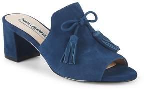 Karl Lagerfeld Paris Women's Block Heel Suede Sandals