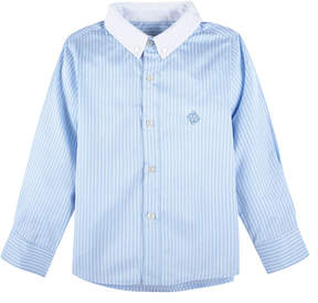 Andy & Evan Boys' Blue Banker Stripe Long Sleeve Shirt