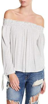 Dee Elly Striped Off-The-Shoulder Blouse