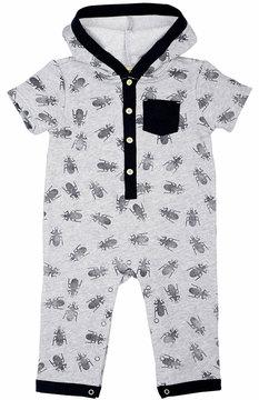 Petit Lem Bug-Print Hooded Playsuit, Gray, Size 3-9M