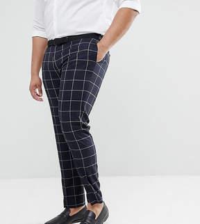 Asos PLUS Wedding Skinny Suit Pants In Navy Windowpane Check