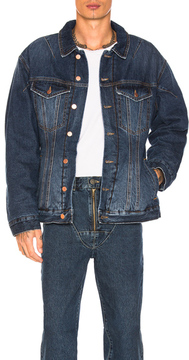 Martine Rose Darted Denim Jacket with Quilted Lining in Blue.