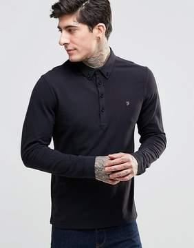 Farah Merriweather Long Sleeve Slim Fit Polo Shirt In Black
