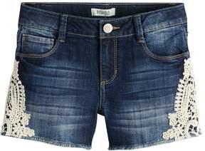 Mudd Girls 7-16 & Plus Size Crochet Side Trim & Frayed Hem Denim Shorts
