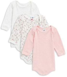 Petit Bateau Baby Girl's Three-Piece Cotton Bodysuit Set