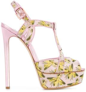 Casadei bee print platform sandals