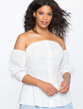 ELOQUII Off the Shoulder Puff Sleeve Top