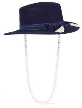 Maison Michel Kiki Faux Pearl-embellished Rabbit-blend Felt Hat - Navy