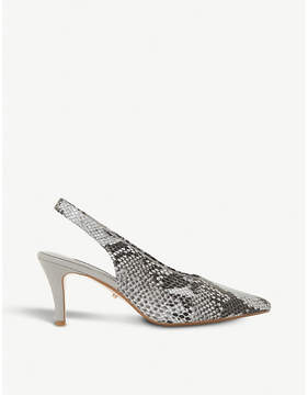 Dune Cas reptile-embossed leather slingback courts