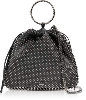 Balmain Black Studded Leather B-Link Bracelet Backpack