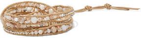 Chan Luu Silver, Multi-stone And Leather Wrap Bracelet - Beige