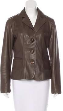 Tahari Button-Up Leather Jacket