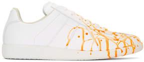 Maison Margiela White and Orange Paint Splatter Replica Sneakers