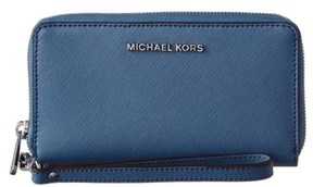 MICHAEL Michael Kors Michael Kors Jet Set Leather Wallet. - BLUE - STYLE