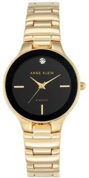 Anne Klein Diamond Accent Goldtone Black Dial Bracelet Watch