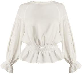 Muveil Embroidered-sleeved twill blouse
