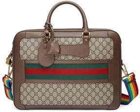 Gucci GG Supreme briefcase with Web - BROWN - STYLE
